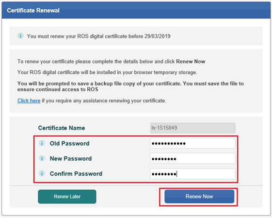 How to renew your ROS digital certificate