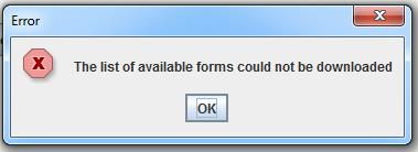 Image of error message that appears when the list of forms cannot be downloaded
