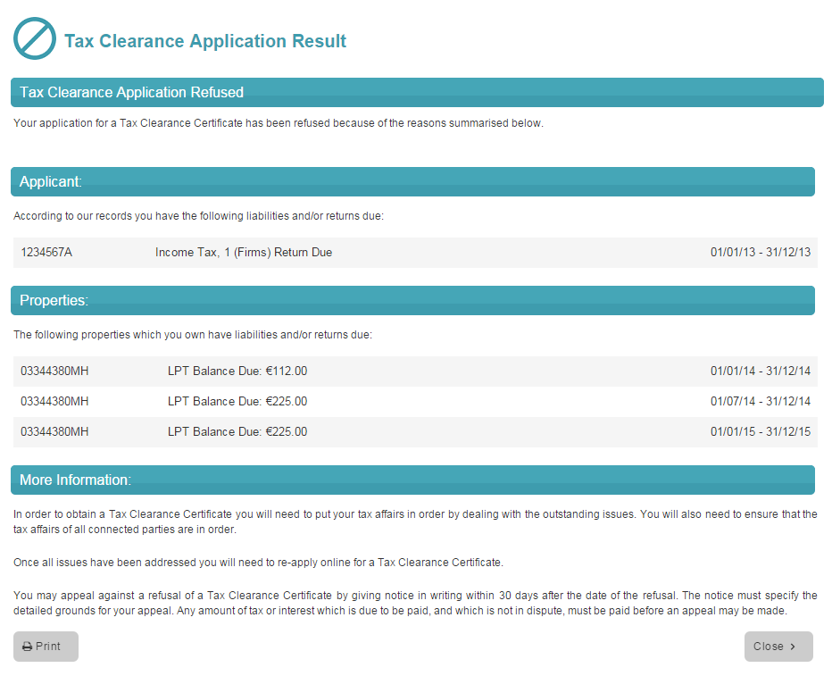 Image of a tax clearance application result screen where an application is refused.
